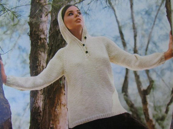 Knitted Hooded, Hoodie Sweater Pattern - 1960's Vintage PDF Pattern, Ladies' Hooded Sweater 1605