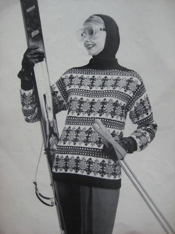 Knitted Ski Sweater and Knitted Hood PDF Pattern, 1950's Vintage Patterns - Women's Knit Ski Sweater 5049