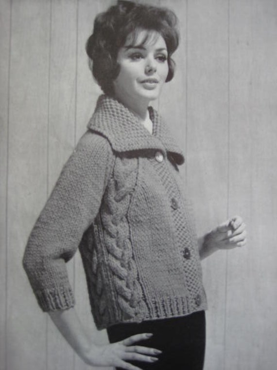 Knitting Women S Work : Knitted sweater pdf pattern s vintage knitting