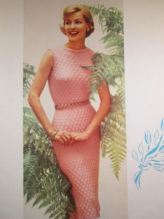 Knitting Pattern For A Dress : Knit Dress Pattern 1950s Vintage PDF Pattern