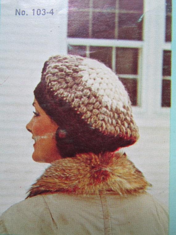 Crochet Hat Pattern - 1970's Vintage PDF Pattern Lopi Hat 103-4