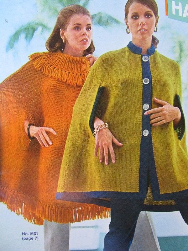 Knitting Patterns For Capes : 2 Knitted Cape Patterns 1960s Vintage Patterns 2 Knit