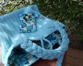 Sky Blue Garden Felted Sweater Bag with Quilted Cell Phone Holder