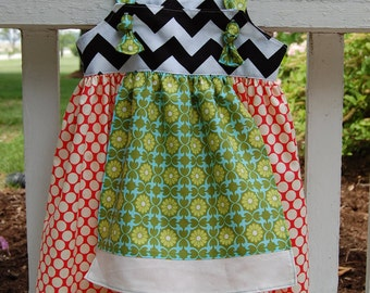 Custom boutique chevron polka dot apron knot dress 6 months to 5 years