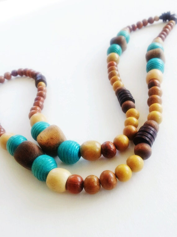 Wood bead men's necklace- African,earthy,colorful