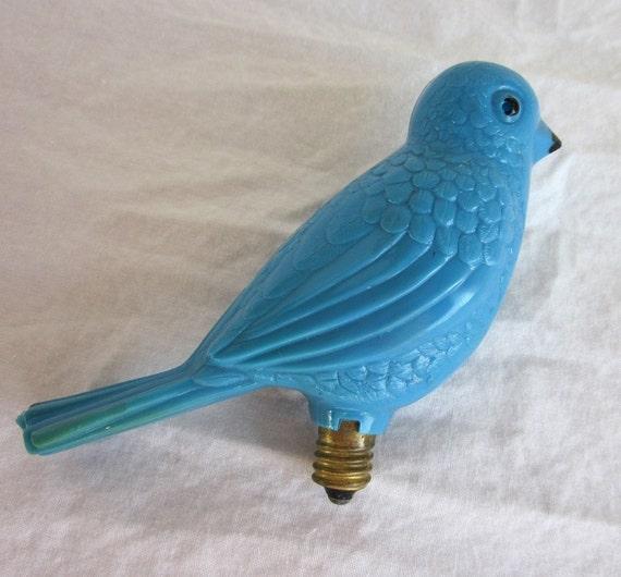 Vintage Blue Bird Christmas Light Bulb