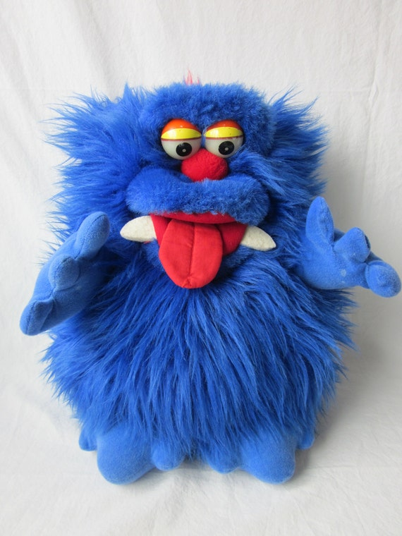 Vintage Blue Furry Monster Pet Puppet with Glow Eyes