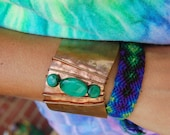 Beautiful Copper Cuff Bracelet With Malachite Semiprecious Gemstone Beads and Wire Wrapping