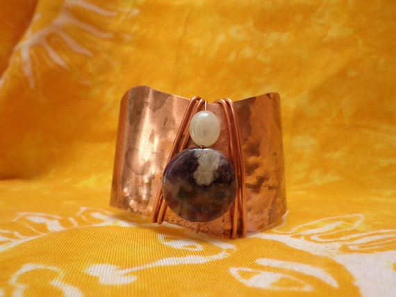 Copper Cuff Bracelet With Amethyst Gemstone and Milky Aquamarine Semiprecious Beads and Wire Wrapping