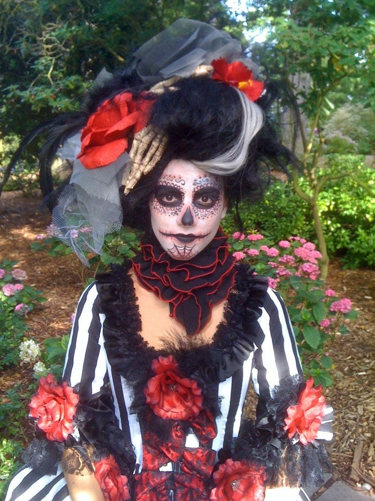 Black and White Witch Doctor Day of the Dead Corpse Bride Wig