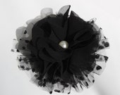 fcp-01/ 1pcs-85mm lovely chiffion flower with pearl- black