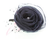 FCO-1/ 1PCS-  85mm organza ,chiffon 2 layer  flower-navy