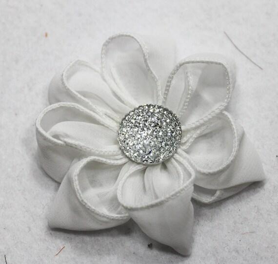 FCB-7/ 1PCS- 75MM chiffon daisy- white