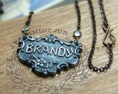 Miss Brandy - Vintage Brandy Label and Crystal Bezel Assemblage Necklace (FREE Shipping Worldwide)
