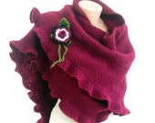 Ruffled Shawl Maroon Mohair with Green, White, Pink Flower, Burgundy