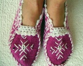 Fushia and White Women House Slipper, Bootee, Sock with Beans