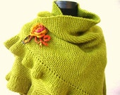 RESERVED Soft Green Ruffled Shawl with Yellowish Flower, Bridesmaid Gift READY To Ship