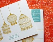 Thank You Cards - Vintage Birdcage - Letterpress Set of 6