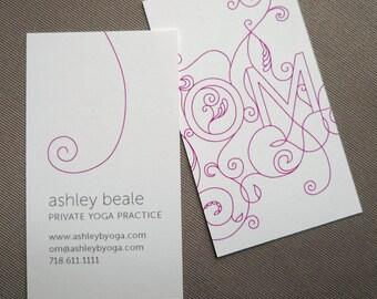 100 Custom Yoga Calling Cards - OM design