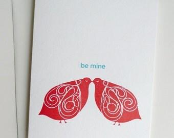 Valentine Card - Letterpress - Lovebirds