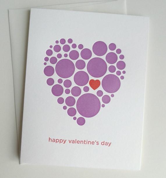 Valentines Day Card, Letterpress Valentine Card, Valentines Day Card for Her, Happy Valentines Day