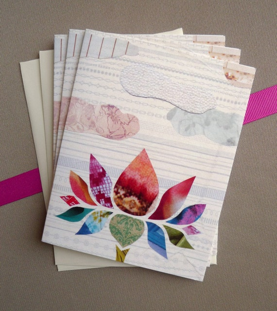 Lotus Collage Card Set - Set of 6
