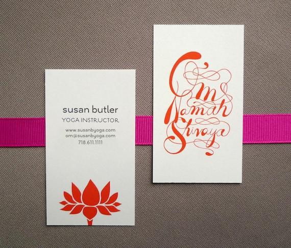 100 Custom Yoga Calling Cards - Lotus design
