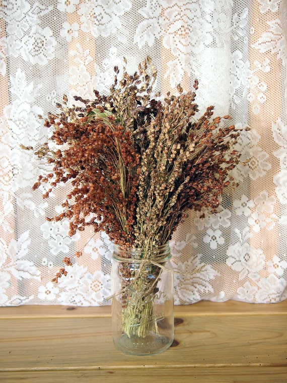 RUSTIC WEDDING Table Bouquet - Simple COUNTRY Broom Corn