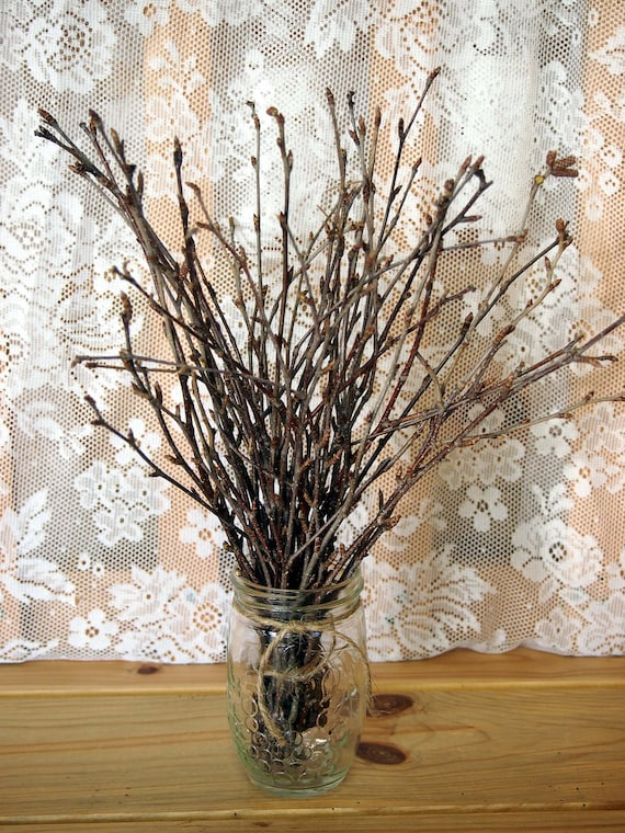 Twiggy WOODLAND Wedding Table Bouquet - Natural Brown Primitive Decor