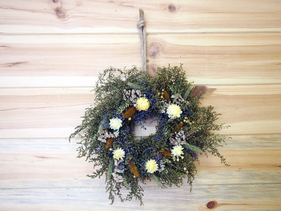Small RUSTIC Herbal Wreath with Country Dried Flowers - Perfect Mother's Day Gift