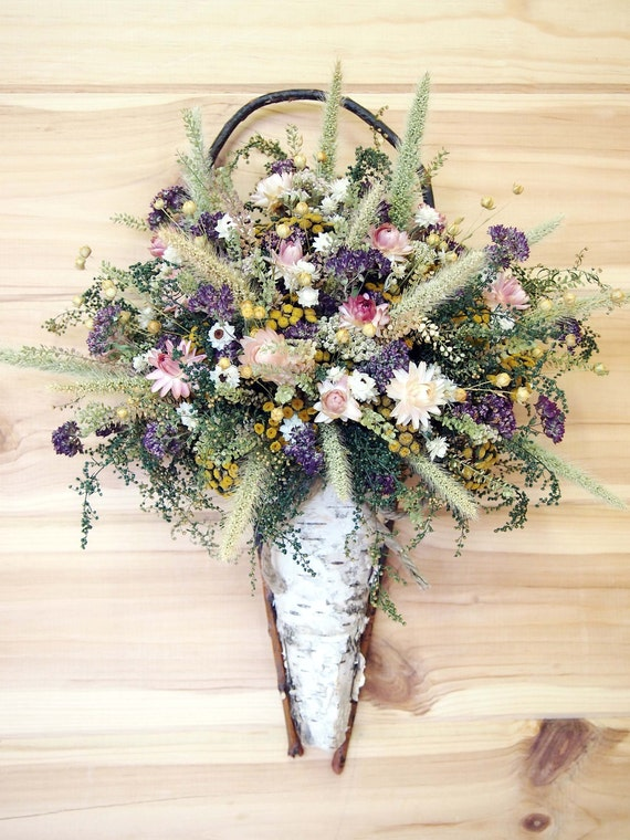 Rustic WHITE BIRCH Wall Basket filled with Country Dried Flowers