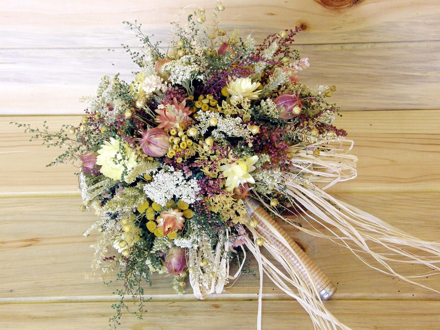 country dried flower bridal bouquet something old something