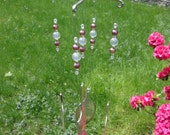 Fork Wind Chime - Glass Crystal and Vintage Pearl Beads