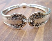 FLIRTATIOUS BLOSSOMS- Upcycled Floral Silverware Bracelet Sz SM