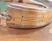 NATALIE- Upcycled Floral Silverware Bracelet with Monogram N  Sz M