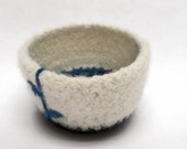 White and Turquois Felted Bowl