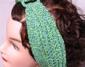 Retro Knit Headband, Hair Accessory, Turban Style Stretchy Ribbed Knit in a Green Cotton and Wool Blend Yarn, Great Gift, Bath and Beauty