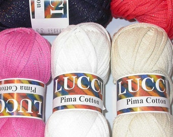 Pima Cotton Yarn with with Sparkle Great for Spring and Summer Knitting, Crochet, Bulky, Aran Weight, Cool Colors