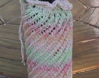 Bottle Cozy, Bag for Gifts, Wine, Knit in Pastel Pink Green, Orange, Beige, Blend with Drawstring, Gift Bag, Wrap, Ready To Ship