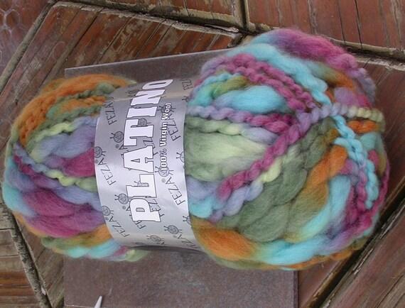Feza Platino, Thick and Thin Wool Yarn, single skein