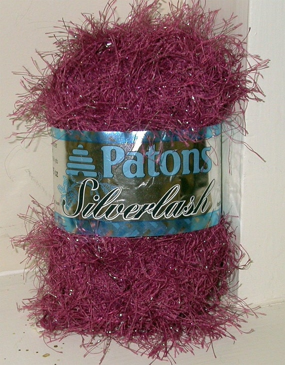 Novelty Eyelash Sparkly Yarn, Patons Silverlash, 1 skein Maroon or Pink