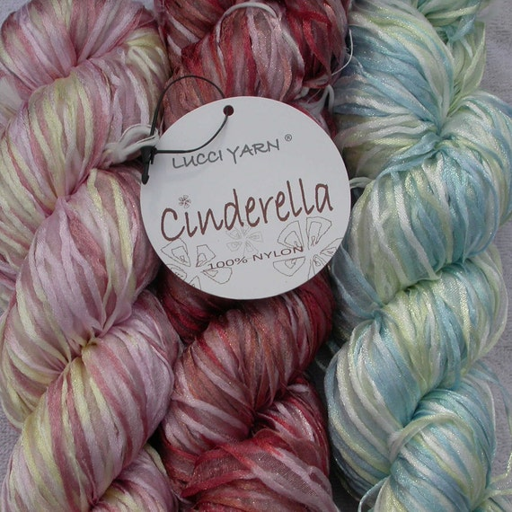 Ribbon Yarn, Lucci Cinderella variegated nylon, soft, silky, bulky 1 skein choose Red, Pink or Blue