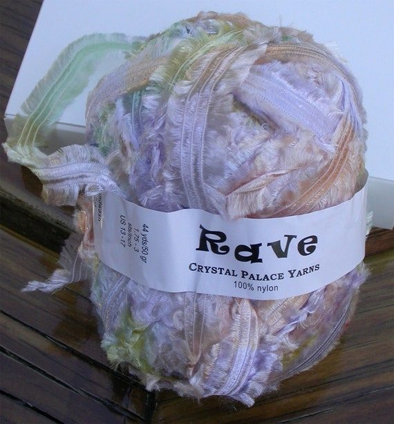 Yarn, Crystal Palace Rave, Bulky Fringed Silky Ribbon, Spring, 1 skein Dreamy Pastel Pink, Green, Purple, Yellow blend
