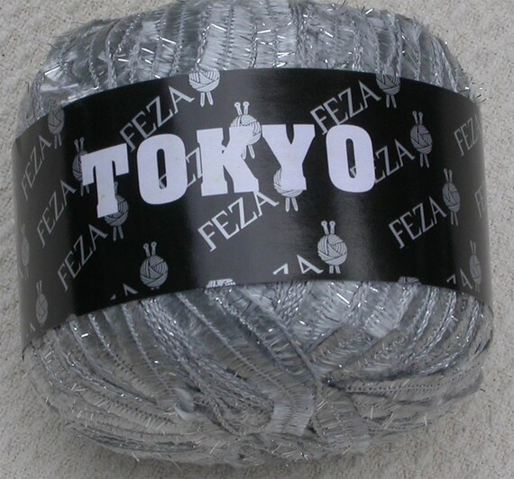 RESERVED FOR SHARI, Novelty Yarn, Feza Tokyo, Metallic, 1 ball Silver, thick and thin, brush, sparkly