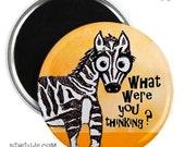 Shocked Zebra Magnet or Button -F3-