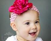 KRISTEN- Pink  flower childrens headband and clip