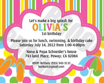 DIY make a splash birthday party invitations