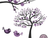 Love Birds in Purple - Digital Clip Art