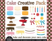 Cake Creative Pack - Decorate Your Own Cake - Digital Clip Art