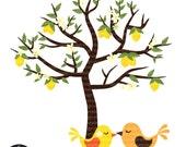 Lemon Tree with Love Birds - Digital Clip Art